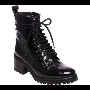 Steve Madden Black Patent Geneva Combat Boot 7